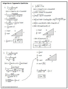Calculus BC  Integration by Trig Sub Guided Notes plus HW Graphic Organizer