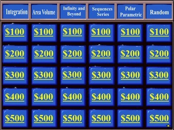 Calculus BC   Jeopardy™ Style Game Review Fun