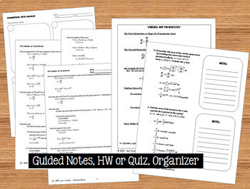 Calculus BC  Parametric Equations  Task Cards  Guided Notes  HW QR Quiz