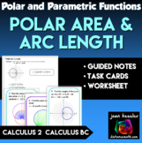 Calculus BC  Polar Area Task Cards and Notes
