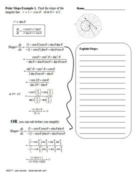 Calculus BC Slope of Polar Functions Guided Notes and Task Cards
