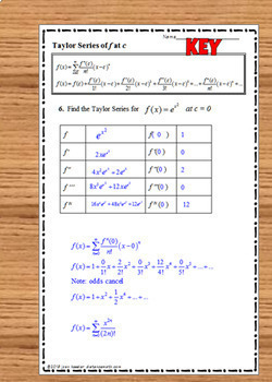 Calculus BC Taylor Series and Maclaurin Series Practice   Infinite Series