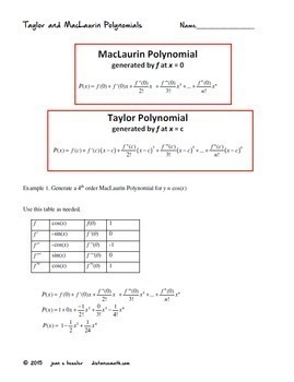 Calculus BC  Taylor and MacLaurin Polynomials  -  Unit: Infinite Series