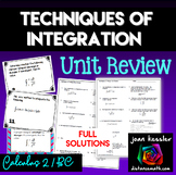 Calculus BC  Techniques of Integration Task Cards with Full Solutions