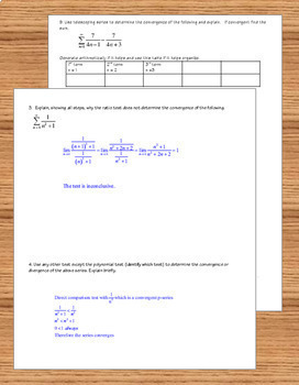 Calculus BC Tests for Convergence  Review or Test plus Bonus Graphic Organizer