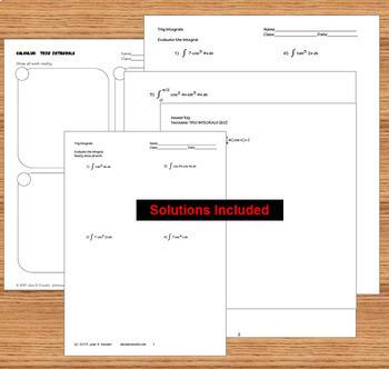Trigonometric Integrals Task Cards HW Organizer Calculus 2 and BC