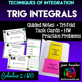 Calculus BC Trigonometric Integrals  Task Cards  Worksheet