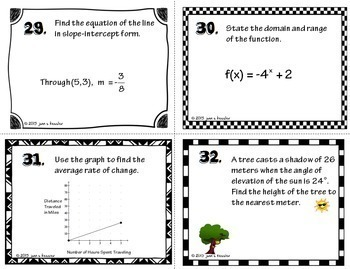 Calculus Back to School Review and Task Cards
