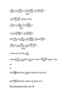 Calculus Basic Indefinite Integral 98 Questions with Solutions