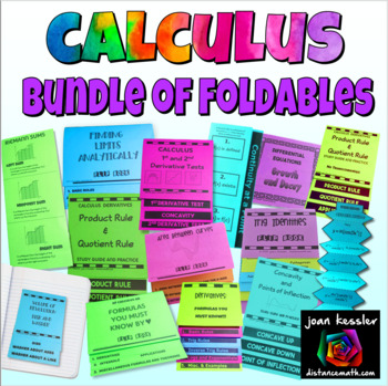 Calculus Big Bundle of Foldable Organizers plus more   Distance Learning
