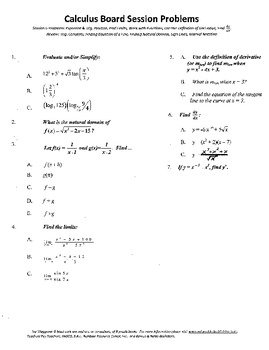 Calculus Board Sessions,Session 6,Limits,Definition Deriva