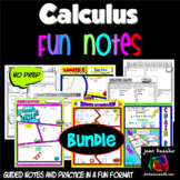 Calculus Bundle of Comic Book No Prep FUN Notes Doodle Pages