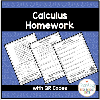 Calculus Bundle of Homework for the Entire Year with QR Codes