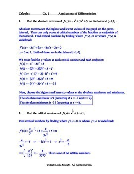 Applications of Differentiation - Test + Teaching Oriented Solutions / Calculus