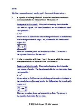 Related Rates Test / Quiz / Lesson + Teaching Solutions / Calculus AP