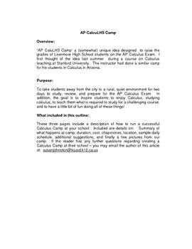 Calculus Camp Description