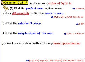 Calculus Ch. 3B: More Applications of Derivatives Bellringer Flipchart