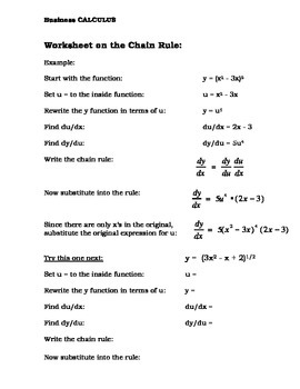 Calculus:  Chain Rule Notes Worksheet