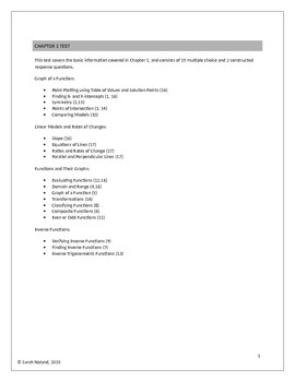 Calculus Chapter 1 Test - Precalculus Review (Freebie)