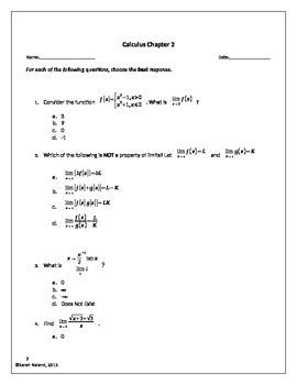 Calculus - Chapter 2 Test - Limits