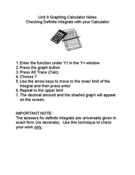 Calculus: Checking Answers For Definite Integrals Using the Graphing Calculator