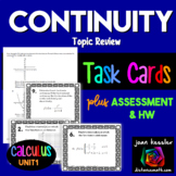 Calculus Continuity Task Cards or Station Activity plus Quiz HW