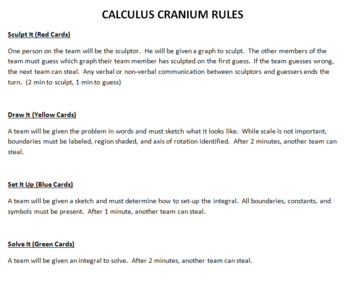 Calculus Cranium: A review game for Solids and Volumes of Revolution.