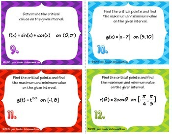 Calculus  Critical Value  Extrema  Derivatives  Task Cards  Worksheet