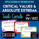 Calculus Critical Value Extrema Derivatives Task Cards  HW Worksheet