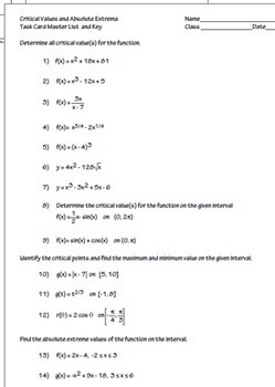 Calculus Critical Value Extrema Derivatives Task Cards  HW Worksheet