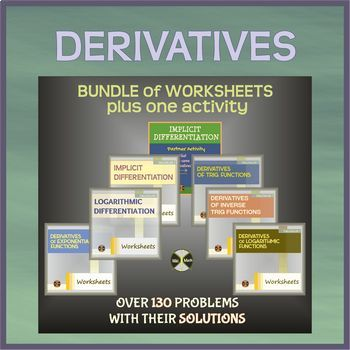 Calculus DERIVATIVES - BUNDLE of worksheets + one activity (136 solved problems)