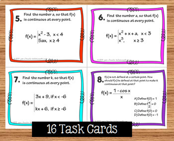 Calculus Defining Continuous Functions Task Cards Quizzes and more