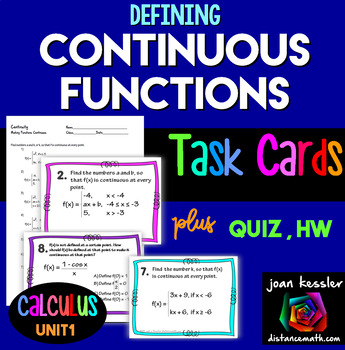 Calculus Defining Continuous Functions Task Cards Quizzes