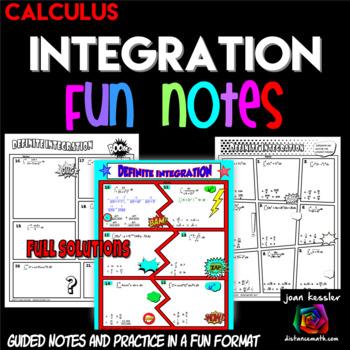 Calculus Definite Integration Comic Book Doodle Note Style  Practice