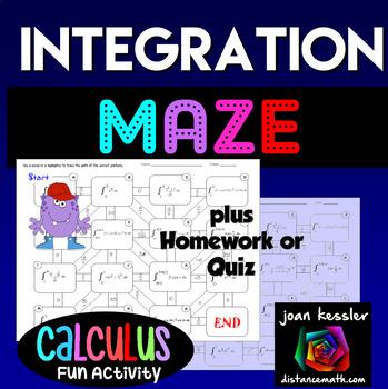 Calculus Definite Integration Fun Maze and Worksheet by Joan Kessler