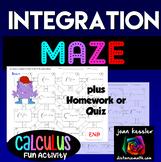 Calculus Definite Integration Fun Maze and Worksheet