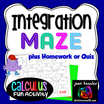 Calculus Integration with Substitution Fun Maze and Worksheet