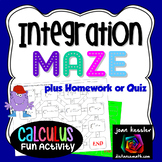 Calculus Integration Fun Maze and Worksheet with u-Substitution