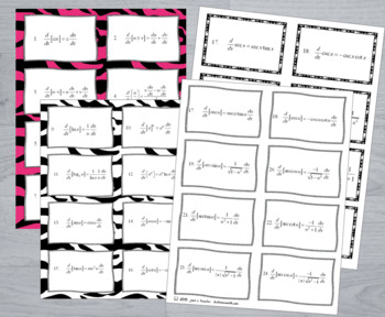 Calculus Derivative Flash Cards Study Card Kit 2 Sets