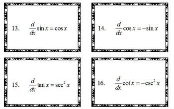Calculus Derivative Flash Cards Study Card Kit 2 Sets