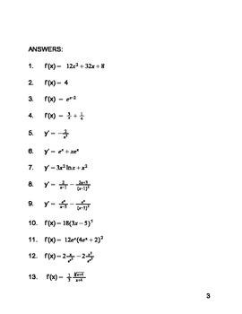 Calculus:  Derivative Practice