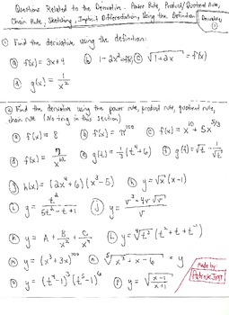 Calculus: Derivative Questions and Solutions