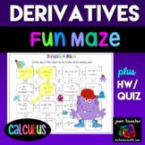 Calculus Derivative Review Fun Maze and Worksheet