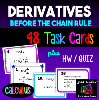 Calculus Derivatives Task Cards HW Before the Chain Rule Bundle