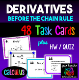 Calculus Derivatives Task Cards plus HW Before the Chain R