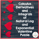 Calculus Derivative and Integral of Natural Log and Exponential Valentine Puzzle