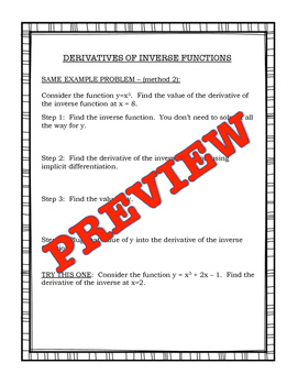 Calculus Derivative of Inverse Functions Mini Lesson and Practice