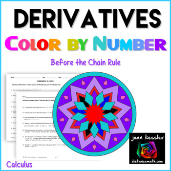 Calculus Derivatives Color by Number by Joan Kessler | TpT