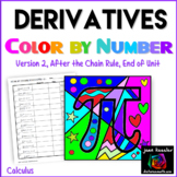 Calculus Derivatives Color by Number Part 2, after the Chain rule