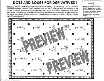 Calculus Derivatives - Dots and Boxes Fun Activity